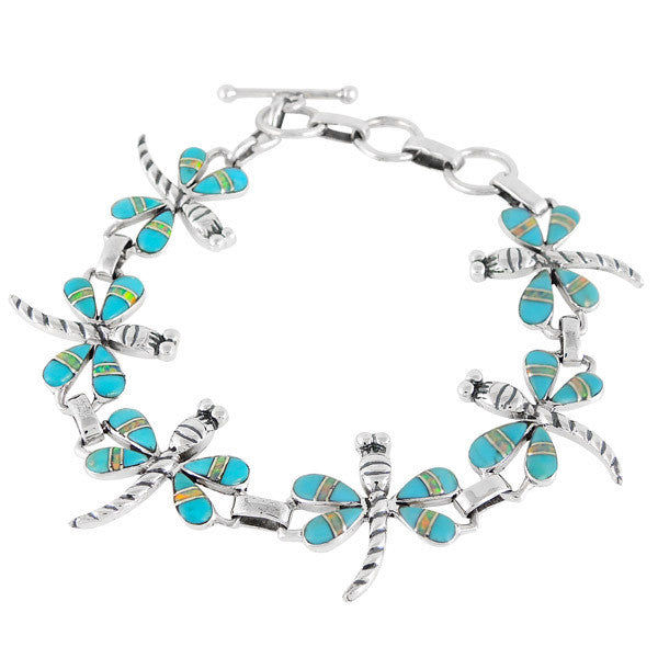 Dragonfly Turquoise and Opal Sterling Silver Link Bracelet SBD001
