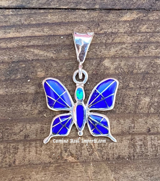 Sterling Silver Butterfly Lapis lazuli and Opal Inlay STSP008