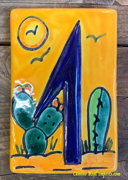 Talavera Tile House Numbers Cactus with Yellow Desert Design