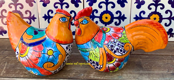 Set of 2 Mexican Talavera Pottery Rooster and Hen Chicken TRHST006
