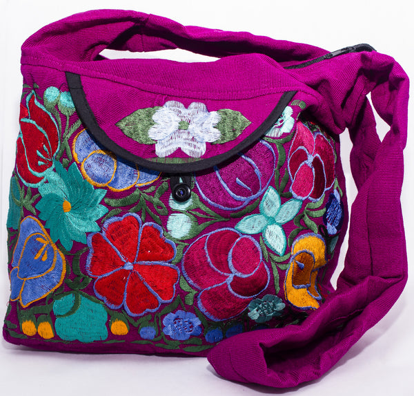 GUATEMALA PURSE HAND EMBROIDERED FLOWERS HOBO BAG X-LARGE GPL003