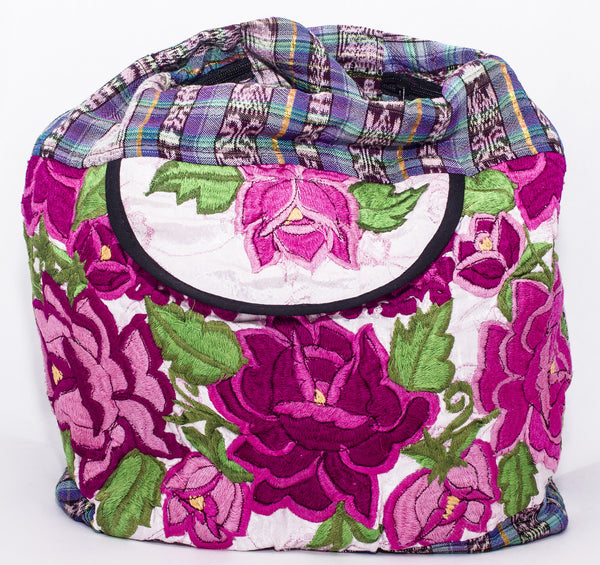 GUATEMALA PURSE HAND EMBROIDERED FLOWERS HOBO BAG X-LARGE GPL005