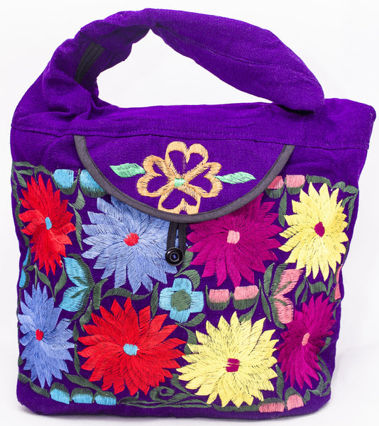 GUATEMALA PURSE HAND EMBROIDERED FLOWERS HOBO BAG X-LARGE GPL006