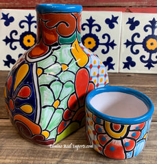 Talavera Water Jug with Cup TWG1CP007