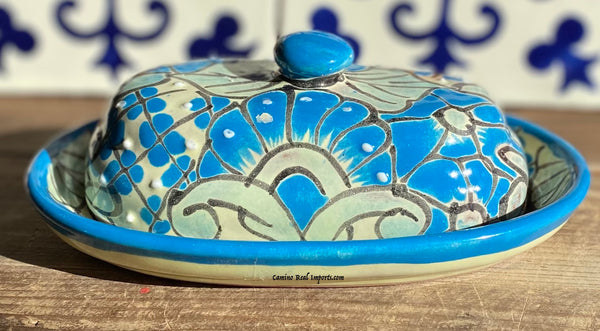 Talavera Pottery Butter Dish Hand Painted TBDMD001