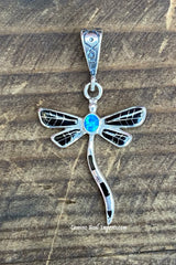 Sterling Silver Spiny Black Onix and Opal Dragonfly Pendant STSP0018