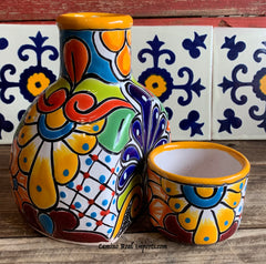Talavera Water Jug with Cup TWG1CP002