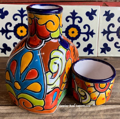 Talavera Water Jug with Cup TWG1CP004