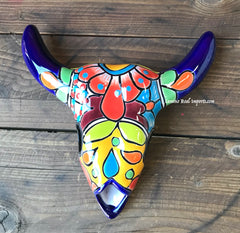 Mexican Wall Hanging Talavera Pottery Cow Skull TSK8002