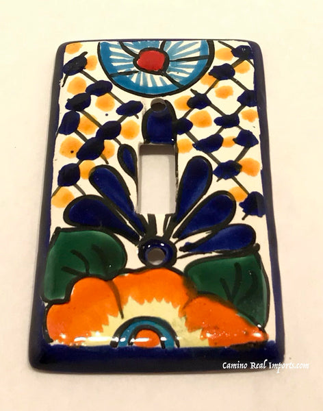 Mexican Talavera Pottery Single Toggle Switch Plate TTSP034