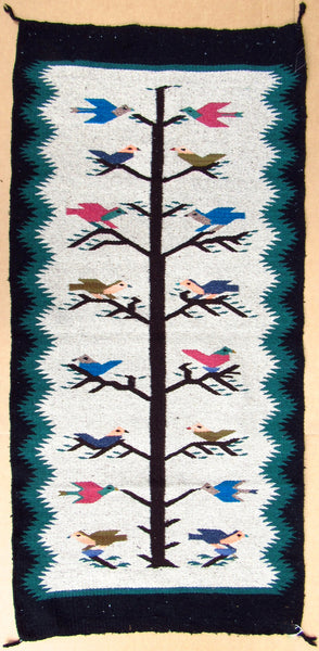 "SOUTHWEST MEXICAN RUG 30"" X 60"" TREE OF LIFE Design TLR001"