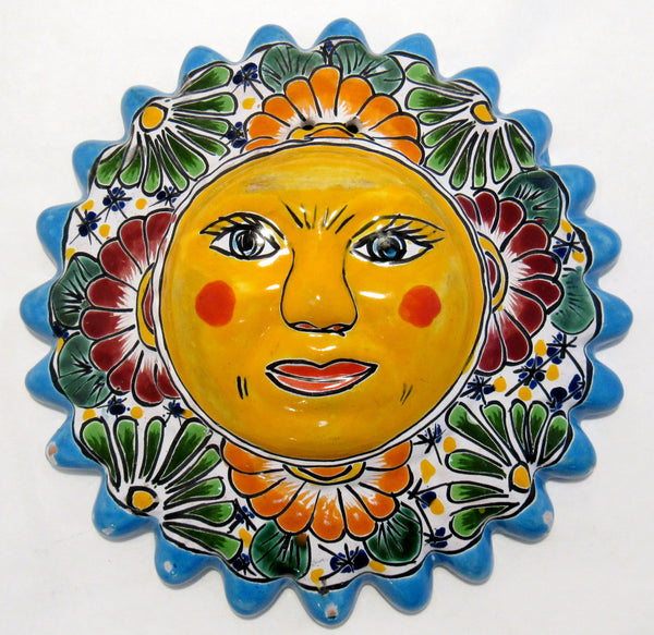 MEXICAN WALL HANGING TALAVERA POTTERY SUN FACE 10""