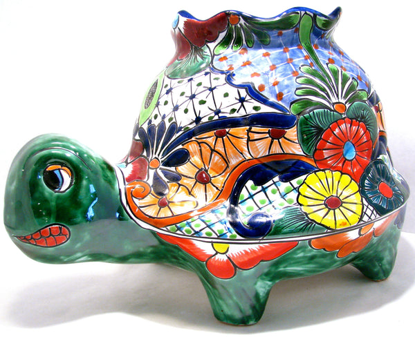 TALAVERA TURTLE FLOWER POT PLANTER