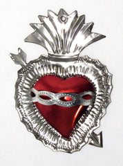 "6"" Wall Hanging Hand Punched Tin Sacred Heart TSH002"
