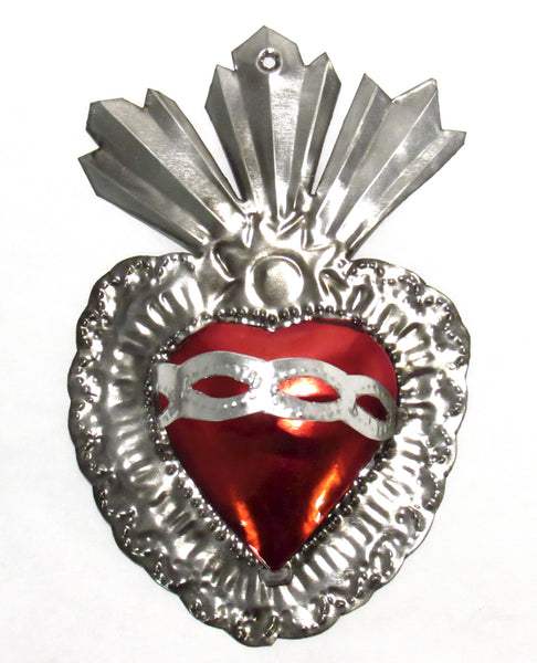 "6"" Wall Ornament Hand Punched Tin Sacred Heart TSH005"
