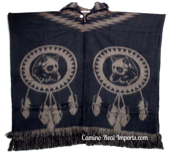 Wool Hoodie Poncho Dream Catcher WOLF - ONE SIZE FITS ALL Serape Gaban GAW005
