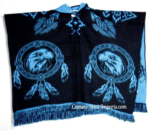 Wool Hoodie Poncho Dream Catcher EAGLE - ONE SIZE FITS ALL Serape Gaban GAE008