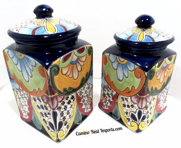 TALAVERA POTTERY CANISTER HAND PAINTED COOKIE JAR SET OF 2 TCS004