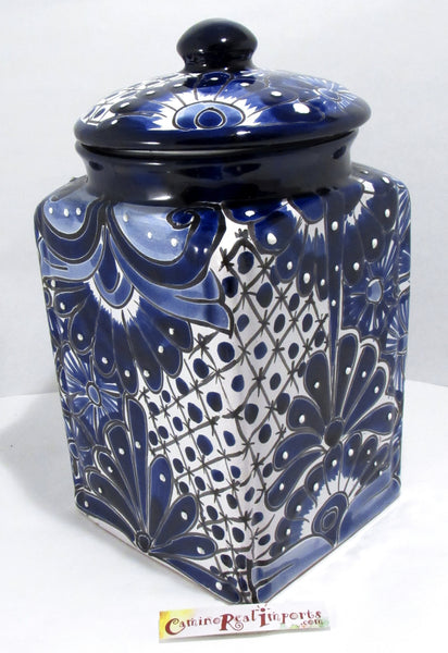 TALAVERA POTTERY CANISTER HAND PAINTED COOKIE JAR TCNL001