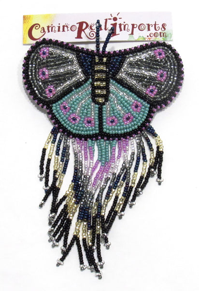 BUTTERFLY BEADED HAIR BARRETTE GHB012
