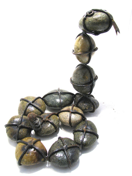 Curled up Snake Rock with Wrought Iron Yard Garden Decor Large