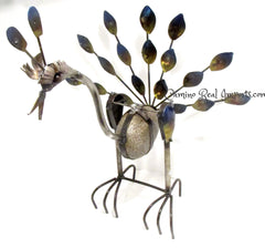 Metal Rock Rocking Peacock Yard Garden Ornament MTPCS006