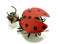 Catarina Lady Bug Rock With Wrought Iron Yard Decor RED
