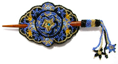 BEADED HAIR BARRETTE HAND MADE WITH SLIDE STICK BHB002