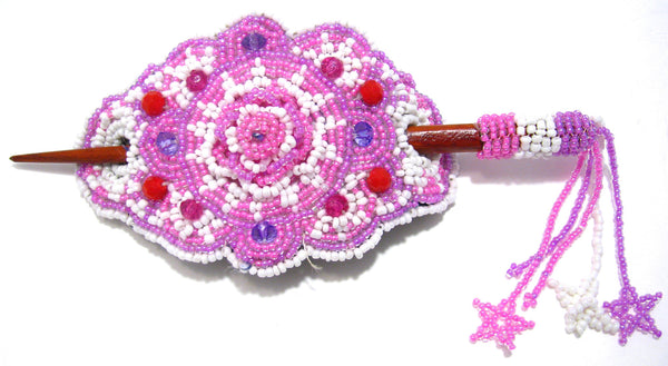 BEADED HAIR BARRETTE HAND MADE WITH SLIDE STICK