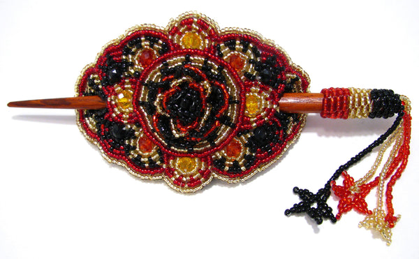 BEADED HAIR BARRETTE HAND MADE WITH SLIDE STICK BHB007