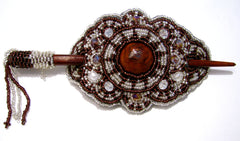BEADED HAIR BARRETTE HAND MADE WITH SLIDE STICK BHB008