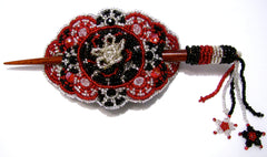 BEADED HAIR BARRETTE HAND MADE WITH SLIDE STICK BHB009