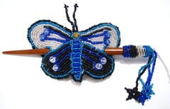 Beaded Butterfly Hair Barrette Hand Made With Slide Stick BBB010