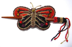 Beaded Butterfly Hair Barrette Hand Made With Slide Stick BBB008