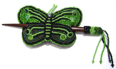 Beaded Butterfly Hair Barrette Hand Made With Slide Stick BBB006