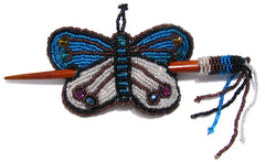 Beaded Butterfly Hair Barrette Hand Made With Slide Stick BBB005