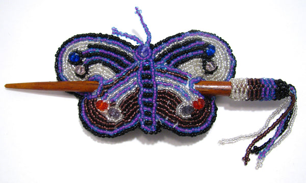 Butterfly Hair Barrette With Stick Hand Beaded Caminorealimports.com