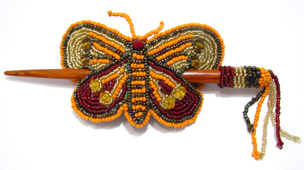 BEADED BUTTERFLY HAIR BARRETTE HAND MADE WITH SLIDE STICK
