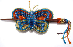 Beaded Butterfly Hair Barrette Hand Made With Slide Stick BBB002