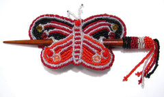 Beaded Butterfly Hair Barrette Hand Made With Slide Stick BBB001