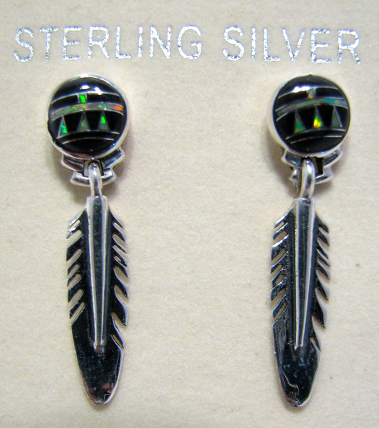 Feather Earrings Sterling Silver Black Onix and Opal Inlay