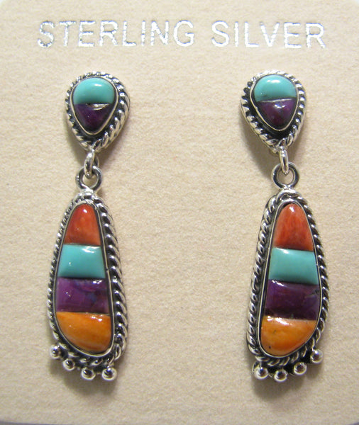 Sterling Silver Multi Stone Inlay Earrings TSC023