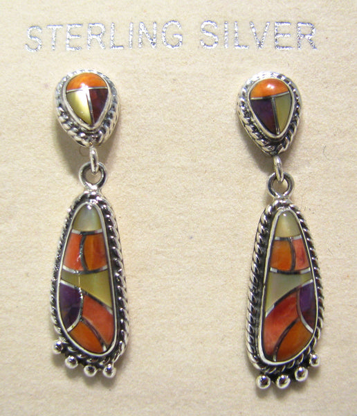 Sterling Silver Spiny Oyster Shell Inlay Earrings