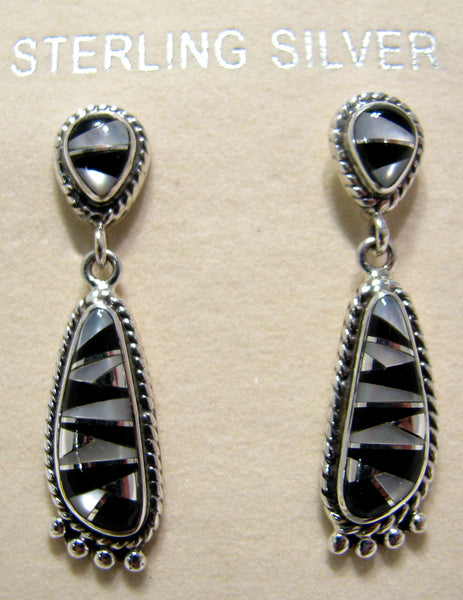 Sterling Silver Black Onix and Mother Pearl Inlay Earrings