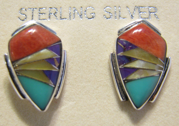 Sterling Silver Multi Stone Inlay Earrings TSC022