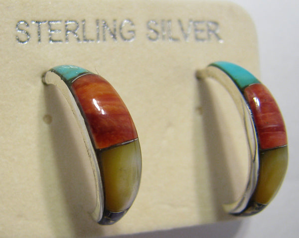 Multi Stone Hoop Earrings Sterling Silver TSC013