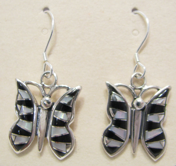 Butterfly Earrings Sterling Silver Black Onix and Mother Pearl Inlay