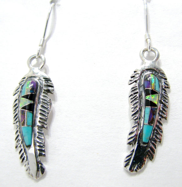 Feather Earrings Sterling Silver Multi Stone Inlay