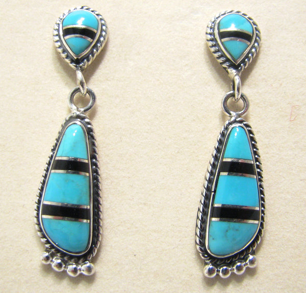 Sterling Silver Turquoise and Black Onix Inlay Earrings