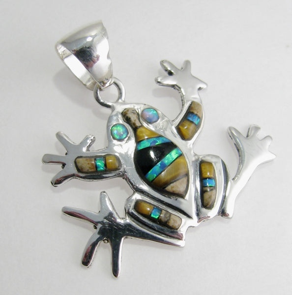 Frog Pendant Sterling Silver Multi Stone Inlay